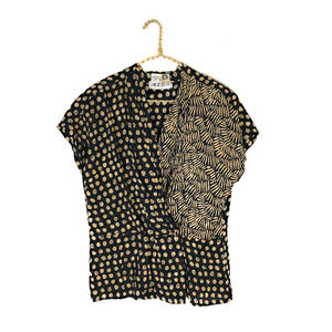 Vintage Anne Klein Mixed Moon Print Pleated Top